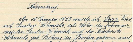 auszug aus dem lebenslauf von georg schmiele - Handschriftlicher Lebenslauf